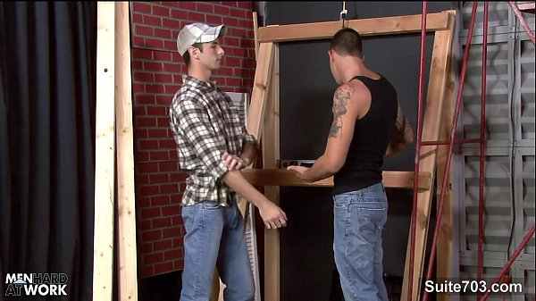 Fit gay worker getting fucked and jizzed