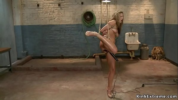 Hot tied blonde is fingered on hogtie Thumb