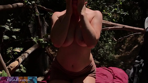 Homeless blonde caught and fucked by property owner outdoors - Erin Electra Thumb
