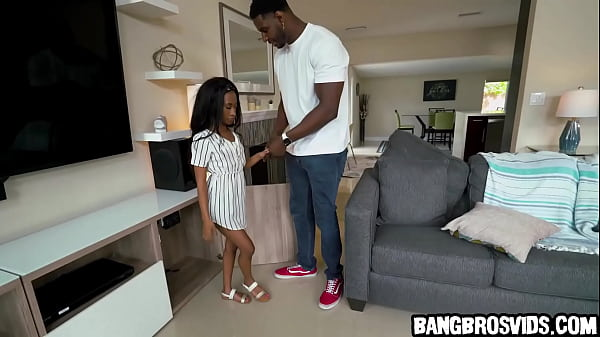 Petite ebony teen gets fucked by monster cock