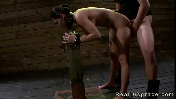 Chained brunette Jasmine Caro to a post gets throat and pussy fucked (Join Now! Eas​y‍Fuck.org)