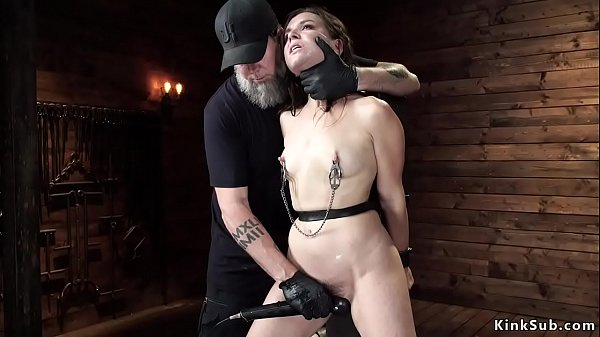 Slave with exposed ass gets fingered