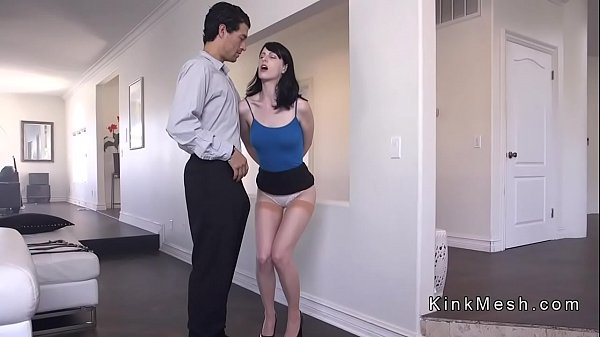 Dude strapped tall brunette and fucks her Thumb