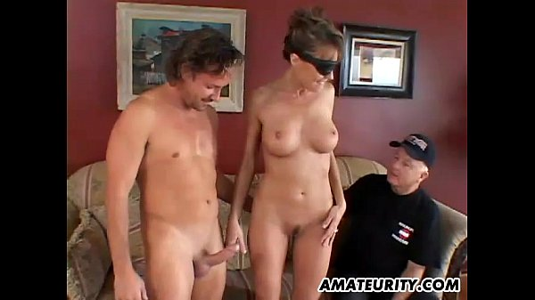 Busty amateur girlfriend anal threesome with fa...