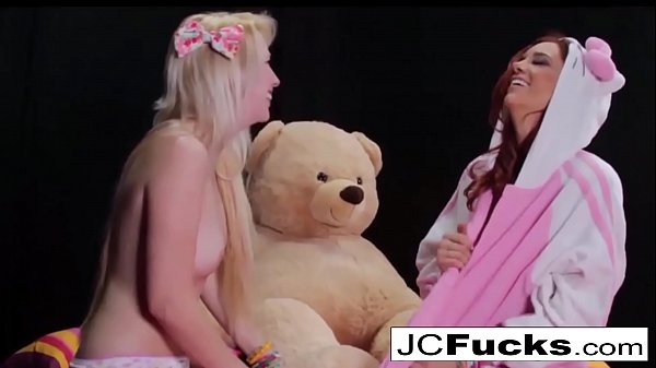 Big teddy bear fantasy play with two aroused lesbians