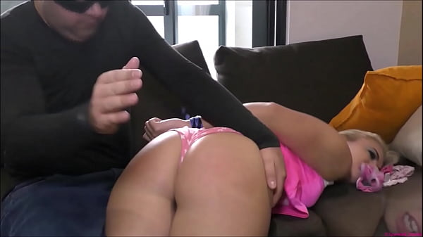 Extremely bitchy brat-babe gets Spanked over a guy's knee | Tied-up | Panty-Gagged | to suck his cock | Then strapped in a Nappy (Diaper)!