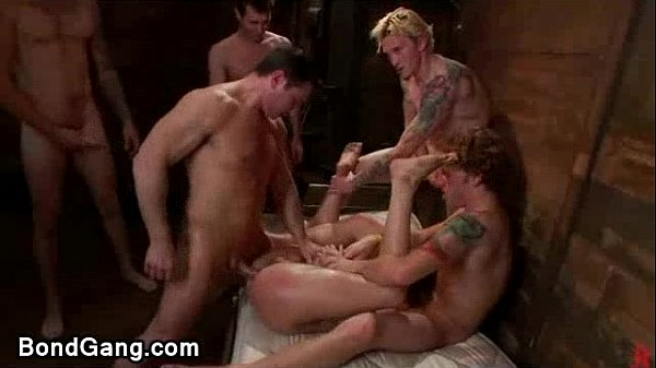 Chestnut babe anal and deep throat orgy fucked