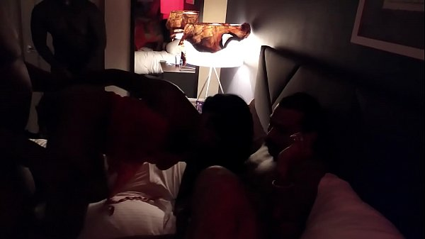 Ebony swinger gangbanged at hotel party!