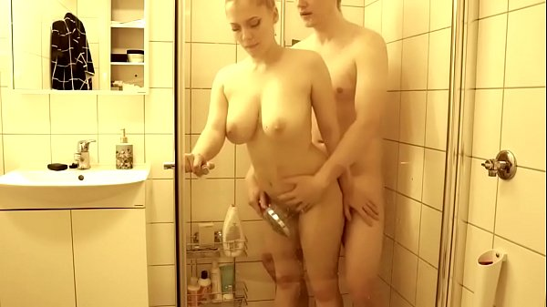Amazing shower quickie with a busty girl