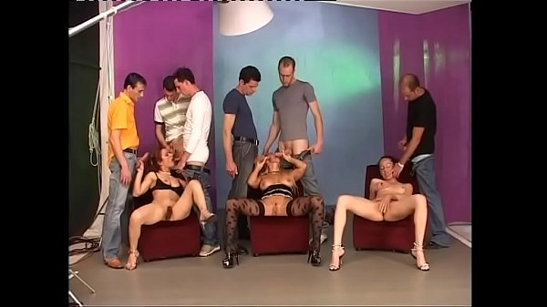 Groupsex orgy for three milfs