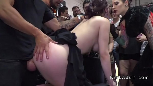 Butt plugged slave banged in public