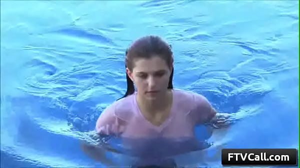 Sexy wet teenager amateur cutie Fiona play with her wet perky nipples by her pool