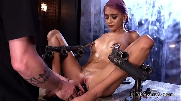 Petite slave in doggy bondage whipped
