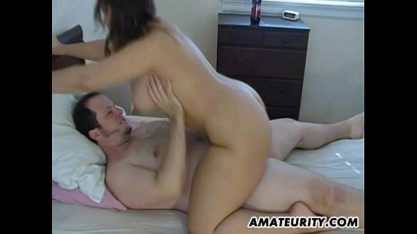 Busty amateur GF sucks and fucks with cum on tits