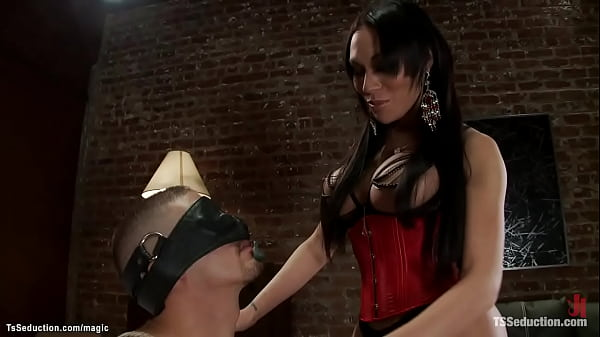 Bound TS is tied and big cock sucked
