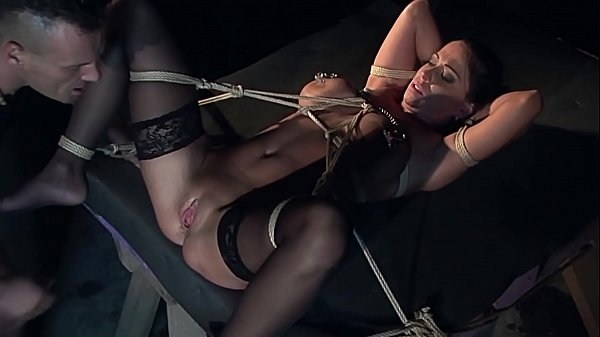 Slave Auction:story of the black widow. Part 3. Andy Moon's big open cunt squirts, while her Master roughly fucks her with his fingers.