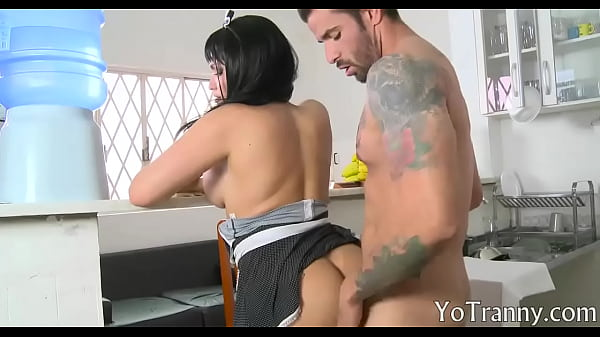 Shemale maid gets screwed in her asshole