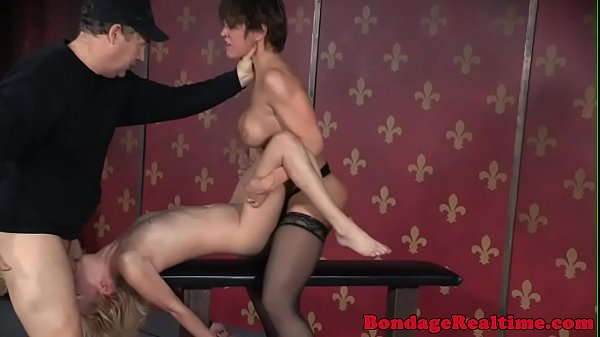 Busty femdom strapons submissive babe roughly