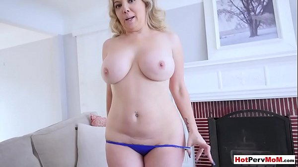 Chubby mommy shows her new lingeries and fucks stepson