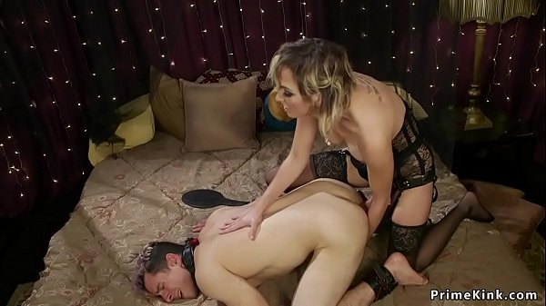 Blonde dom anal fucks guy with monster strap on