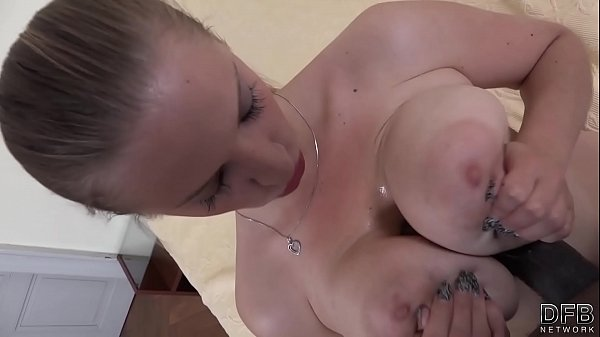 Huge natural tits babe gets hardcore interracial fucked