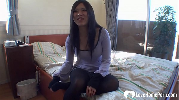 Hairy Asian girl on her back getting rammed
