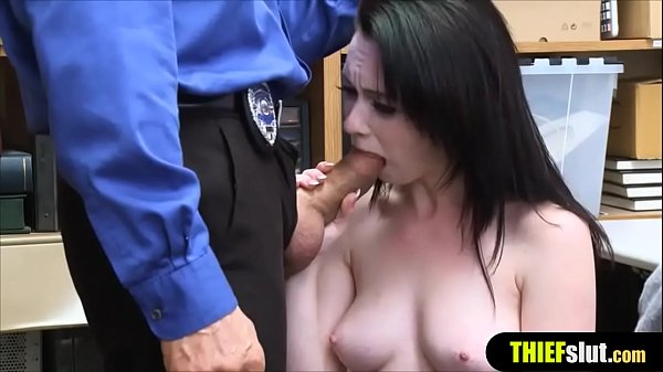 A clueless shoplifter chick gets fucked hard by a co