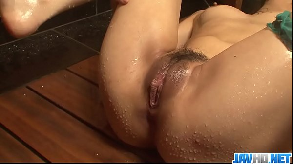 Big ass and oiled up brunette, Yuki Asami teasing in the shower - More at javhd.net