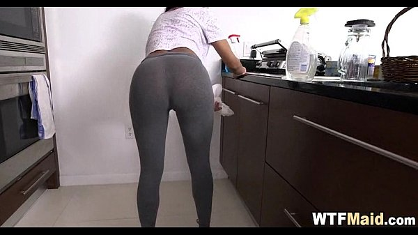 Amateur Maid cleans kitchen