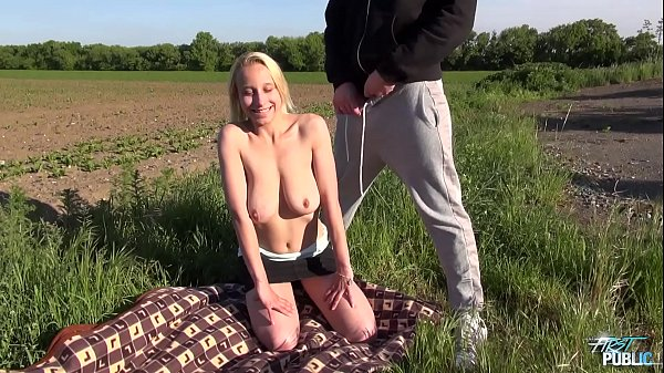 Monster boobs bouncing in public when blonde fucked by stranger