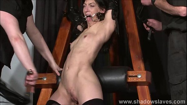 Enslaved painslut Elise Graves whipping in hard bdsm punishment session of tit t Thumb