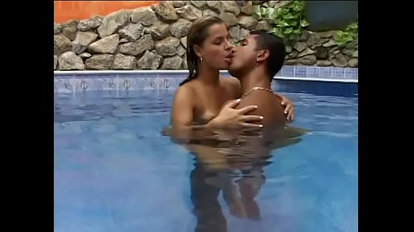 Cute Latina Larissa Prado sucks a thick cock in swimming pool before being fucked