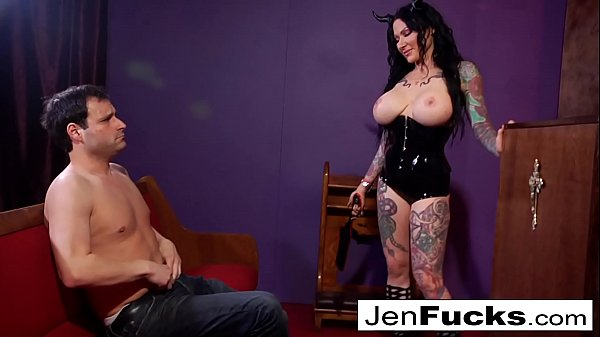 Witchy Jen Jexxxx pegs Alter Boy Marvelo with a giant BBC strap-on!