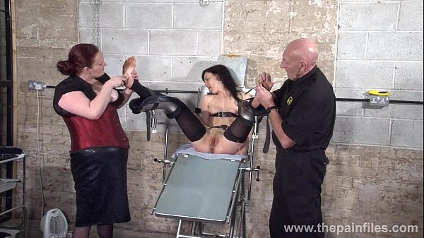 Feet t. of slave Elise Graves in dungeon bondage and gruesome foot fetish