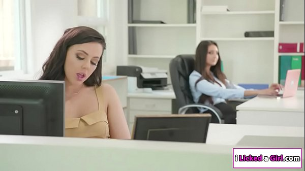 Lesbian officemates scissoring at work