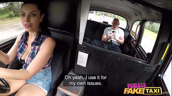 Female Fake Taxi Busty Kira Queen fucking a penis pump fan