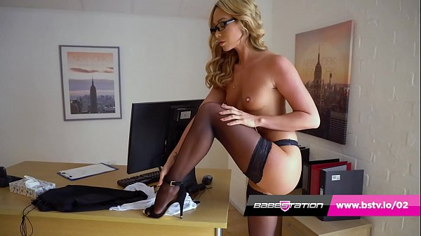 Sexy secretary strip tease with British pornstar Natalia Forrest