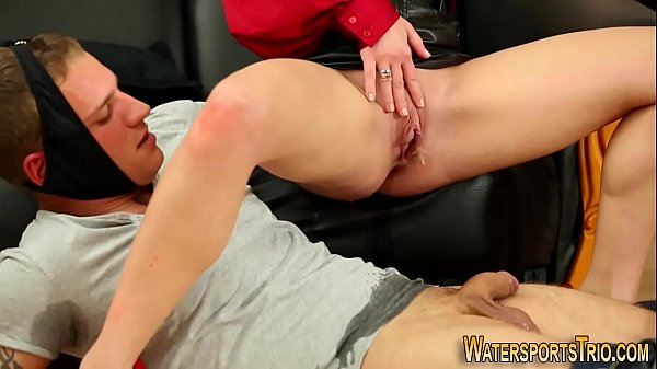 Clothed ho pees on dick