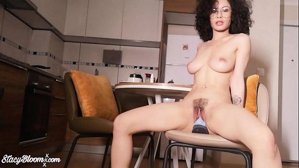 Curly Brunette Play Sex Toys Ass Hole and Pussy until Squirt - Food Fetish