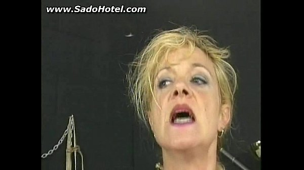 Bdsm mature slave with pussy clamps getting pun...