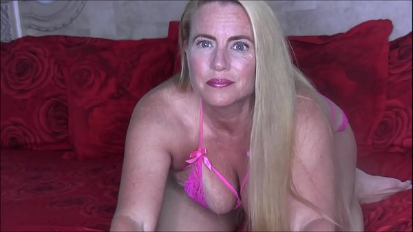 Sexy Blonde MILF Nikki Strappy Pink Lingerie Fingering Her Pussy and Rubbing Her Clit