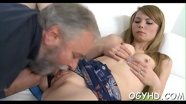 Young cutie blows old pecker