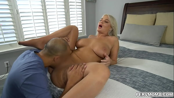 Busty MILF London River turns to her stepson to vent her horrible mood