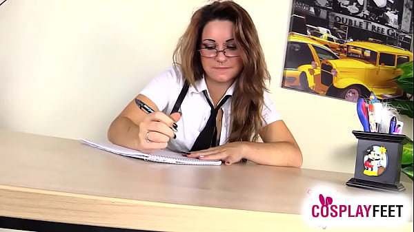 Schoolgirl in pantyhose under the desk tease and foot play
