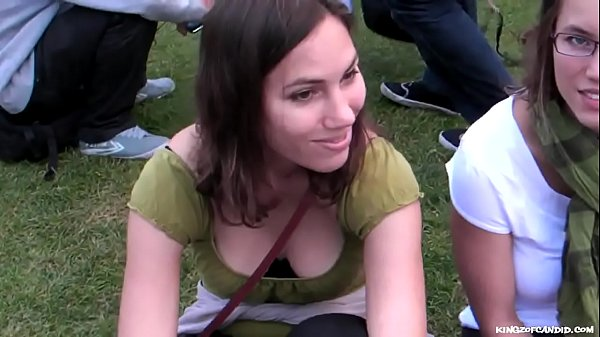 Candid - Deep Cleavage on a Slim Student