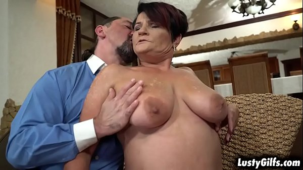 Lusty granny Dolly Bee plays strip poker with her new grandpa neighbor Leslie Taylor. She got lost in the game and ended up fucking with mature cock.