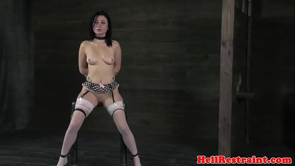 Gagged bdsm sub fingered and whipped  thumbnail