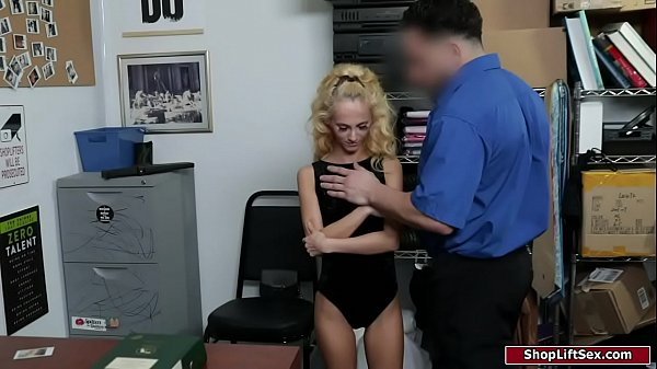 Petite blonde groped by a security guard