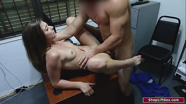 Brunette sucks security guards big dick