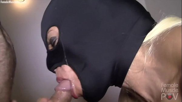 Masked Female Bodybuilder Sucks Cock Takes a Load
